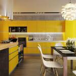 Модерна жълта кухня с остров - Quirc Interior Design