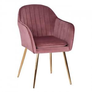 Модерно кресло от кадифе и метална основа в златисто - розов цвя
