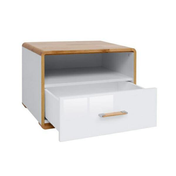 Нощно шкафче в бял гланц и натурален дъб Бари - разпределение