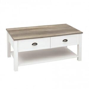 Правоъгълна холна маса с 2 чекмеджета в бяло Канет - вариант 1