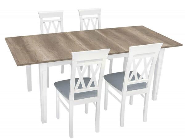 Разтегателна трапезна маса с резбовани крака в бяло Канет - със столове