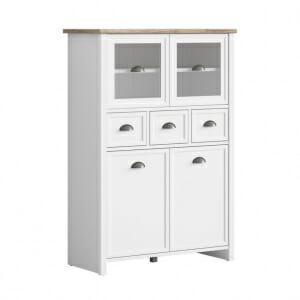 Шкаф с 2 стъклени вратички и 3 чекмеджета в бяло Канет