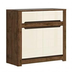 Шкаф с 2 врати и 2 чекмеджета в перлен гланц Русо