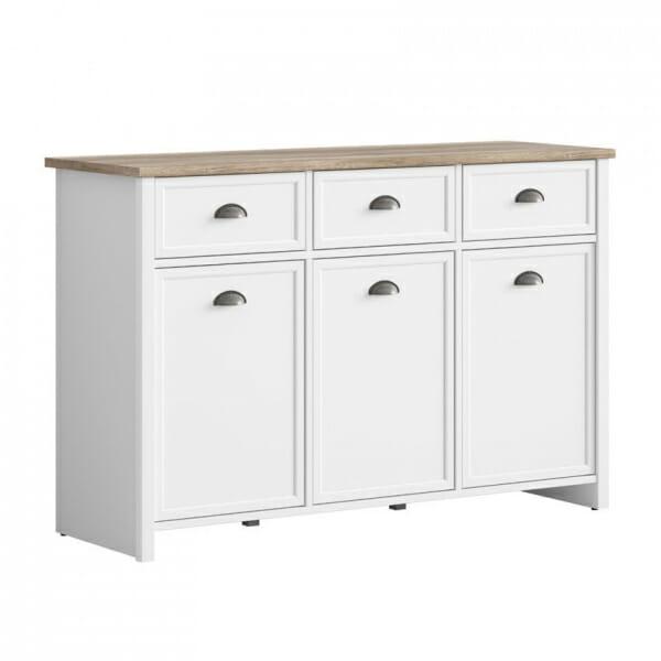 Шкаф с 3 чекмеджета и 3 вратички в дървесен цвят и бяло Канет