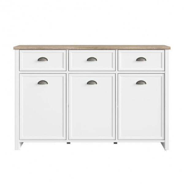 Шкаф с 3 чекмеджета и 3 вратички в дървесен цвят и бяло Канет - отпред