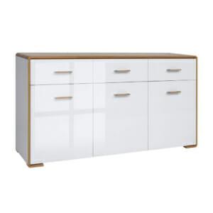 Шкаф с 3 вратички и 3 чекмеджета в бял гланц Бари
