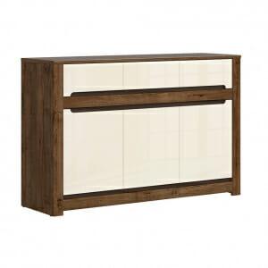 Шкаф с 3 вратички и 3 чекмеджета в перлен гланц Русо
