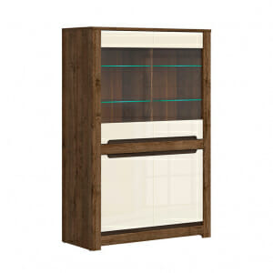 Шкаф витрина с 4 вратички и LED осветление Русо