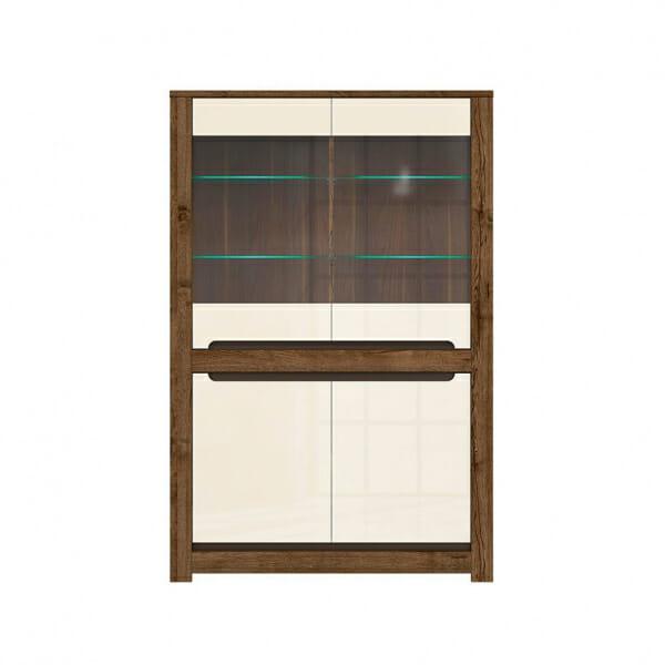 Шкаф витрина с 4 вратички и LED осветление Русо - отпред