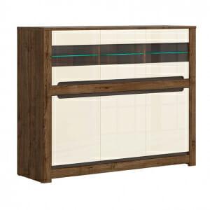 Шкаф витрина с 6 вратички и LED осветление Русо - с осветление