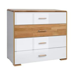 Скрин с 4 чекмеджета в бял гланц и дървесни детайли Бари