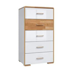 Скрин с 5 чекмеджета в бял гланц и натурален дъб Бари