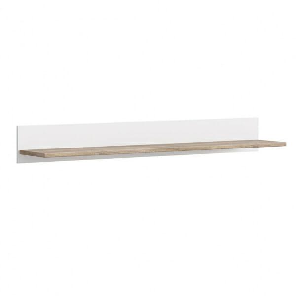 Стенен рафт със заден панел в дървесен цвят и бяло Канет