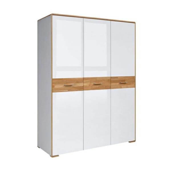 Трикрилен гардероб с бели гланцирани врати Бари