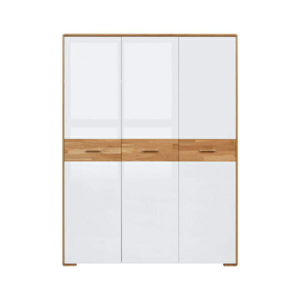 Трикрилен гардероб с бели гланцирани врати Бари - отпред