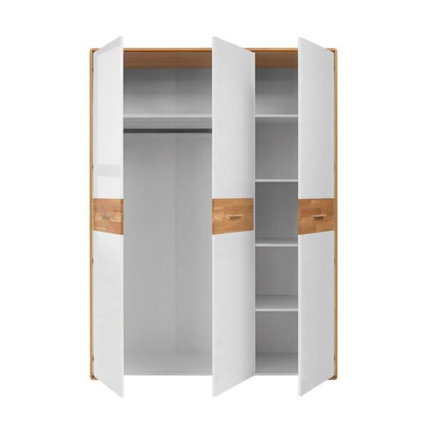 Трикрилен гардероб с бели гланцирани врати Бари - разпределение