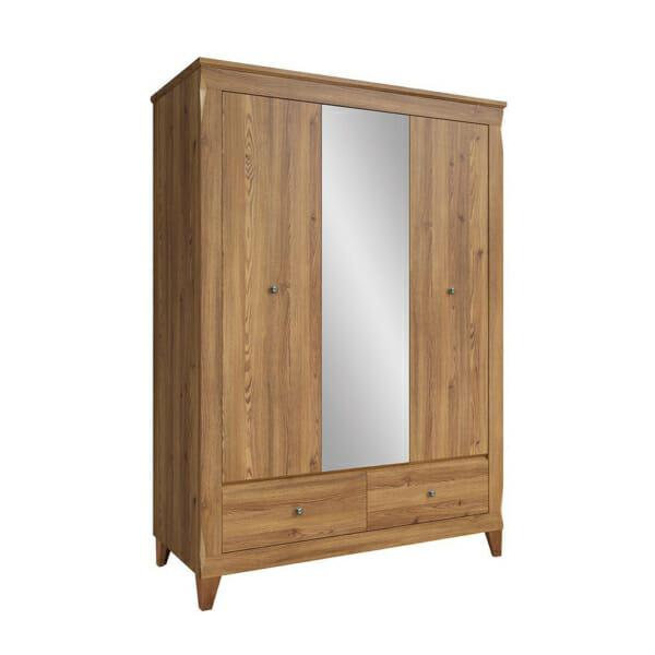 Трикрилен гардероб с огледало и 2 чекмеджета Берген