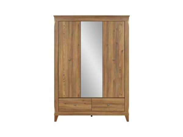 Трикрилен гардероб с огледало и 2 чекмеджета Берген - отпред