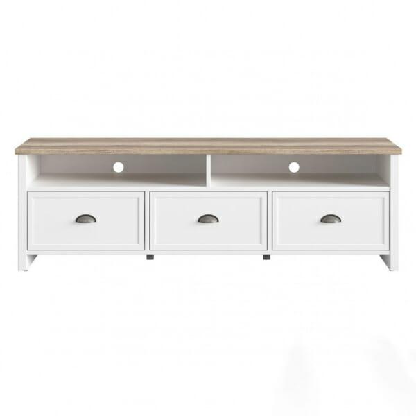 ТВ шкаф с 2 рафта и 3 чекмеджета в бял и дървесен цвят Канет- отпред