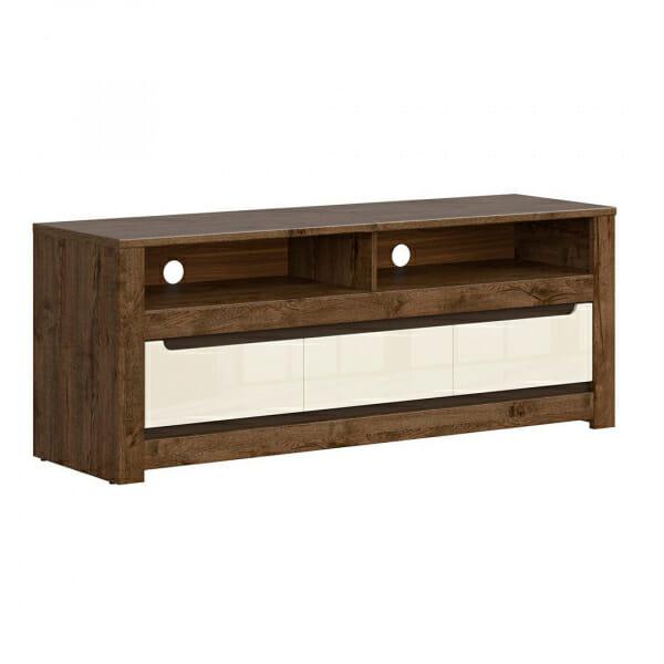 ТВ шкаф с 3 чекмеджета в перлен гланц екрю Русо