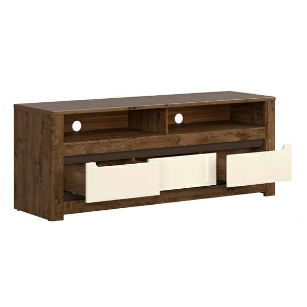 ТВ шкаф с 3 чекмеджета в перлен гланц екрю Русо - разпределение