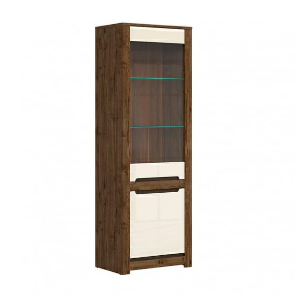 Висок шкаф с витрина и LED осветление Русо