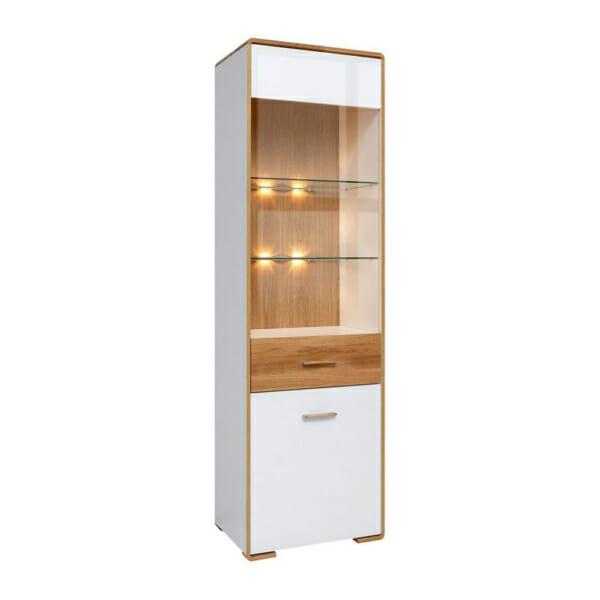 Висок шкаф витрина с вградено осветление и десни панти Бари
