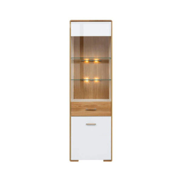 Висок шкаф витрина с вградено осветление и десни панти Бари - отпред