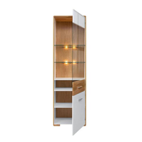Висок шкаф витрина с вградено осветление и десни панти Бари - разпределение