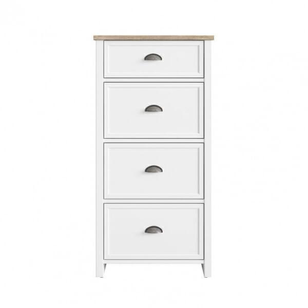 Висок скрин с 4 чекмеджета в бяло и дървесен цвят Канет - отпред