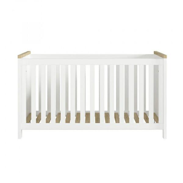 Бебешка кошара в бяло и дървесен цвят Древизо - отпред