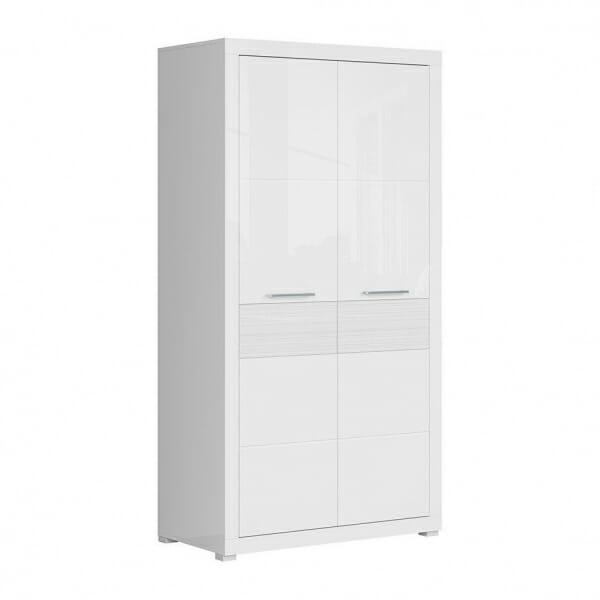 Бял двукрилен гардероб с модерна визия Флеймс