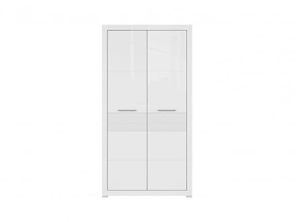 Бял двукрилен гардероб с модерна визия Флеймс - отпред