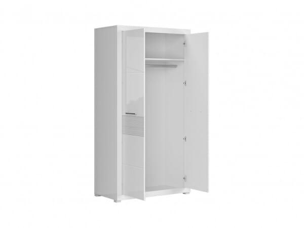 Бял двукрилен гардероб с модерна визия Флеймс - разпределение