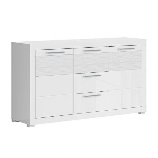Бял лакиран шкаф с 3 чекмеджета и 2 вратички Флеймс