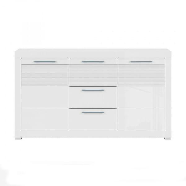 Бял лакиран шкаф с 3 чекмеджета и 2 вратички Флеймс - отпред