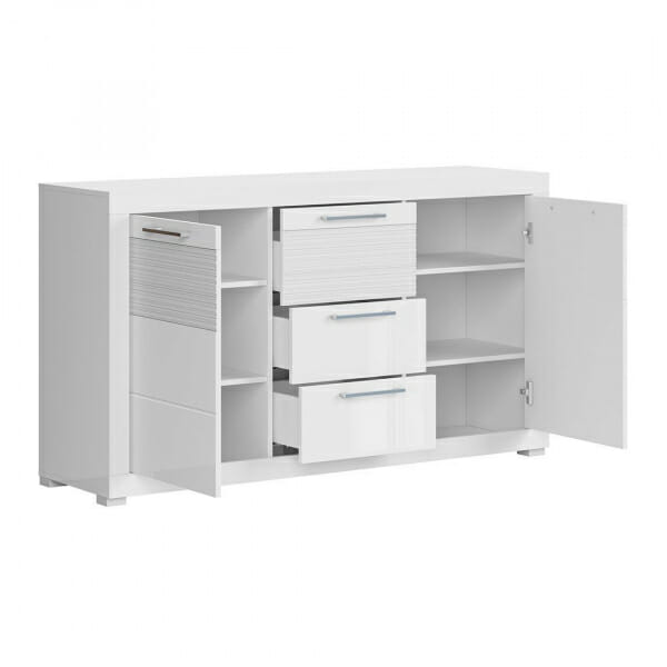 Бял лакиран шкаф с 3 чекмеджета и 2 вратички Флеймс - разпределение