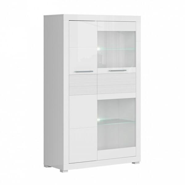 Бял шкаф със стъклена витрина и осветление Флеймс