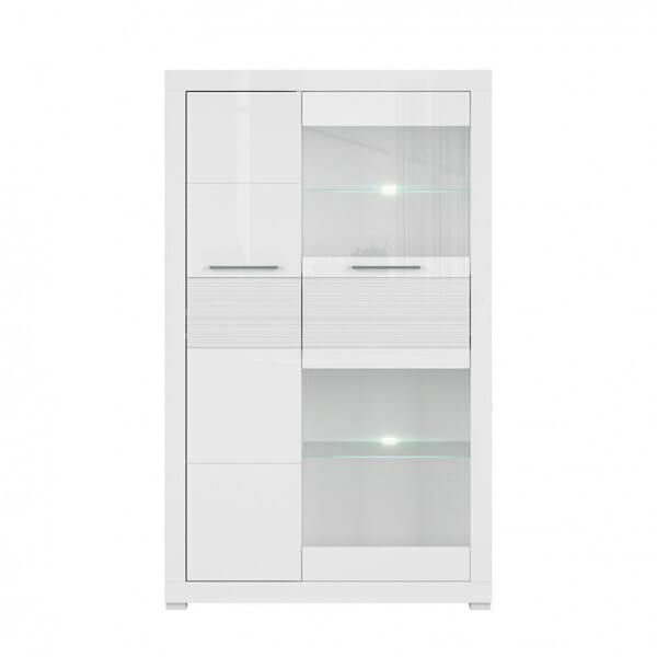 Бял шкаф със стъклена витрина и осветление Флеймс - отпред