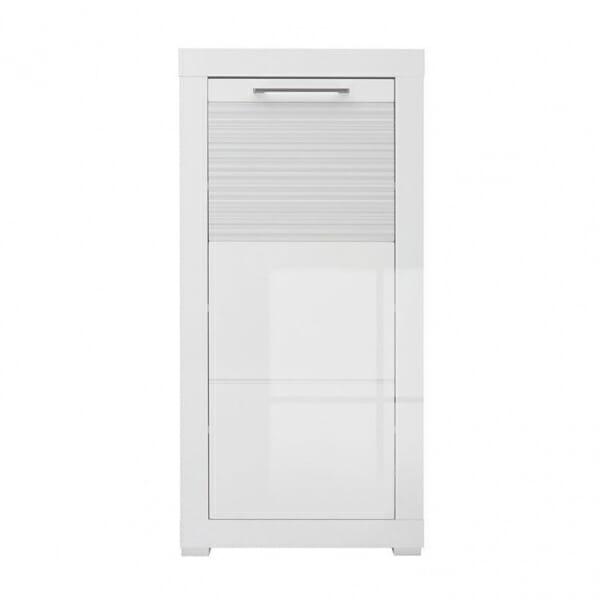 Бял шкаф за антре с гланцирана вратичка Флеймс