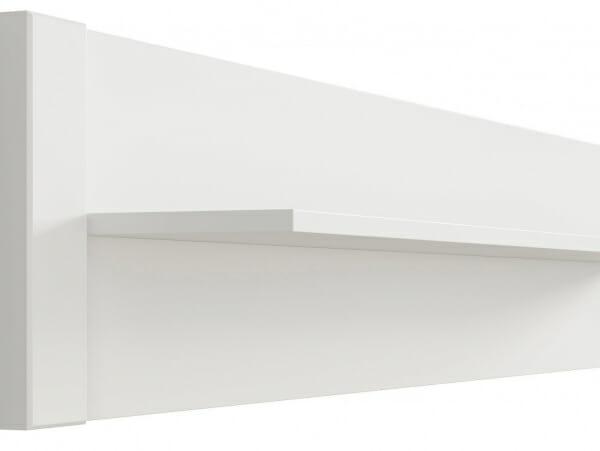 Бял стенен рафт със заден панел Древизо - детайл