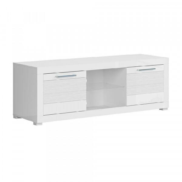 Бял ТВ шкаф с 2 чекмеджета Флеймс