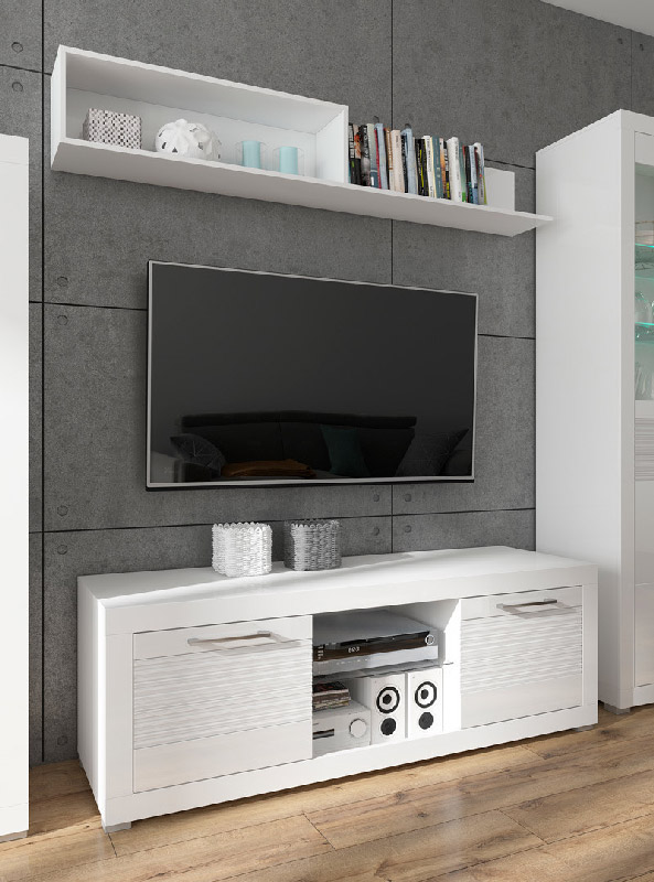 Бял ТВ шкаф с 2 чекмеджета Флеймс - декор