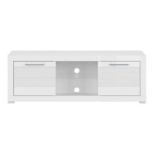 Бял ТВ шкаф с 2 чекмеджета Флеймс - отпред