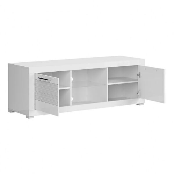 Бял ТВ шкаф с 2 чекмеджета Флеймс - разпределение