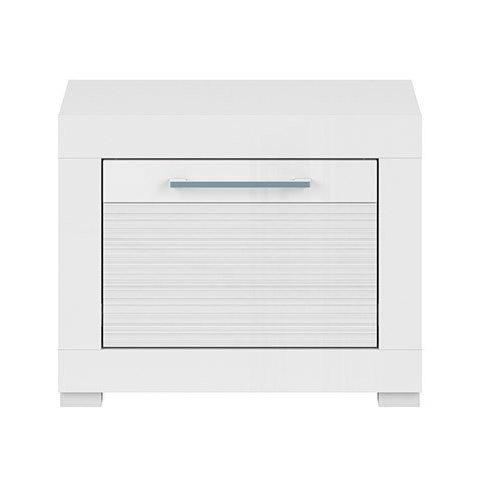 Бяло гланцирано нощно шкафче с чекмедже Флеймс - отпред