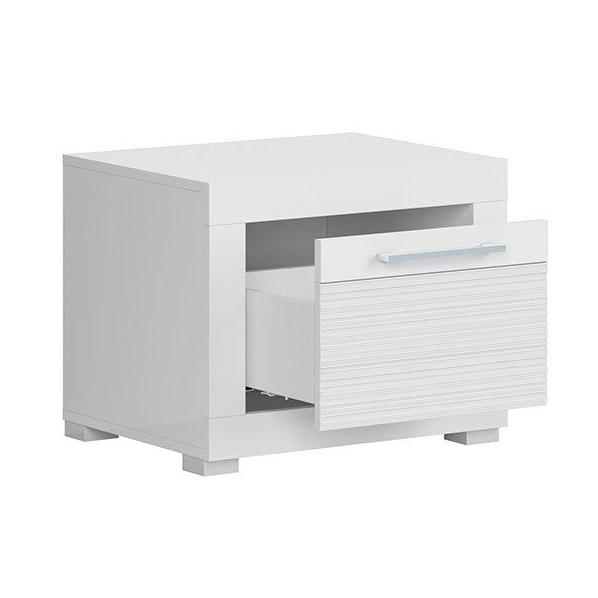 Бяло гланцирано нощно шкафче с чекмедже Флеймс - разпределение