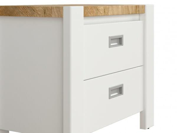 Бяло нощно шкафче с плот в дървесен цвят Древизо - детайл