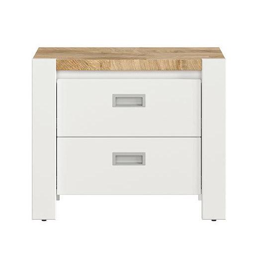Бяло нощно шкафче с плот в дървесен цвят Древизо - отпред