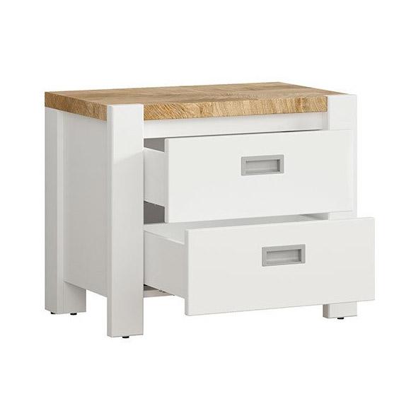 Бяло нощно шкафче с плот в дървесен цвят Древизо - разпределение